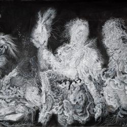 Cristallisation (Kitchen scene), gouache et encre sur impression fine art, 23,5x31,5cm, 2020.