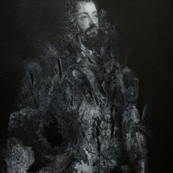 Cristallisation n°2 ( Portrait d'Alfonso d'Avalos,Marchese del Vasto, en armure avec un page), encre et gouache sur impression fine art, 2019