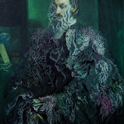 Cristallisation (portrait d'un humaniste), gouache et encre sur impression fine art, 23,5x31,5cm, 2020.