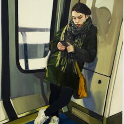 Portrait de jeune fille dans les transports